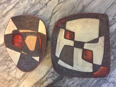 "Signed ""Ouvrard or ""Ouvrard to base. ""Pair"" one bigger one smaller signed studio art ceramic dished bowls by listed Canadian Quebec potter painter Guy Ouvrard. Signed and dated early Shop Signs, Vintage Ceramic, Art Studios, Spiderman, Studio Art, Pairs, Guys, Bowls, Base"