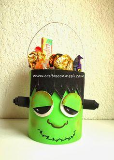 Manualidades halloween con latas recicladas - Frankenstein dulcero para halloween