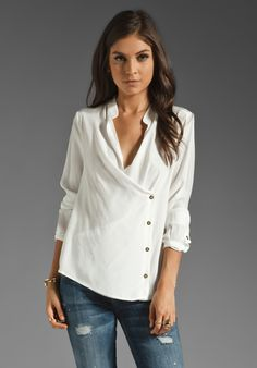 7 FOR ALL MANKIND Crossover Placket Blouse in Blanc De Blanc