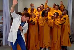 I've invited Laverne's church choir here to summarize my feelings in exuberant song. LMBO - I love this so much. Turk And Jd, Kilala97, Book Week Costume, Tumblr Posts, Choir, Self Help, The Fosters, Scrubs, Eagle