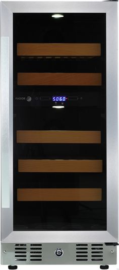 Fagor WC28DZ 15 Inch Tower Wine Cooler with 28 Bottle Capacity, 2 Temperature Zones, LED Digital Controls, 5 Beachwood Wine Racks, Reversible Door, Vibration Neutralization System and Sabbath Mode