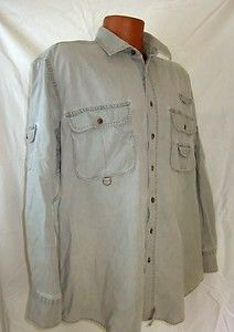 Woolrich Men's Long Sleeve Shirt Fishing Hunting Camping Faded Green Large