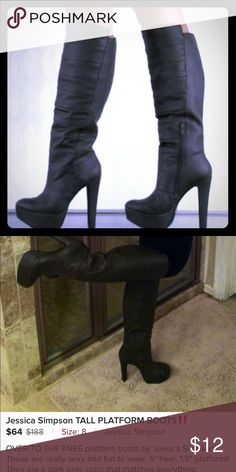 "Jessica Simpson Platform Boots Used Jessica Simpson black 5"" inch heel 1.5"" platform. Platform Boots . Please use the first photo to get an dies of the look (not my photo). Boots sold as photographed. I used them several times since they are so comfortable. You can use black shoe cleaner and make them look nicer. Scuffs photographed close for you to see normal wear. Thank you for stopping by Jessica Simpson Shoes Heeled Boots"