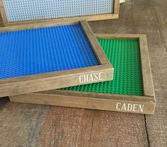 Legos brand baseplate tray with your son or daughters name on the side.These are great for displaying finished works, carrying around the house for mobile play