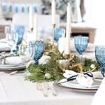I will be sharing more on my winter tablescape next week, but so many of you asked about the blue goblets, they were a @homegoods clearance find, and the gold antlers sprinkled down the middle are from @paintedfox1 . Today is Day 4 of the #holidayhousewalk2016, you can catch all the days on @jenniferrizzodesigncompany blog. #roomsforrentblog #farmhouse #averywayfairholiday #homesweethome #home #homedecor #diningroom #christmas #christmascheer #howweholiday