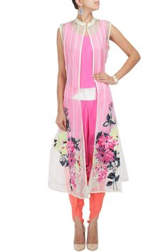 VASAVI SHAH Off white appliqued kali jacket with pink top and dhoti paants