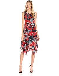 Taylor Dresses Taylor Dresses Women's Floral Chiffon Dress with Ric-Rac Crochet Inserts