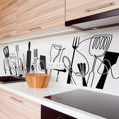 [New] The Best Home Decor (with Pictures) These are the 10 best home decor today. According to home decor experts, the 10 all-time best home decor. Kitchen Feature Wall, Kitchen Wall Art, Chef Kitchen Decor, Kitchen Interior, Kitchen Stickers, Room Wall Painting, Home Decor Furniture, Decor Interior Design, Wall Design