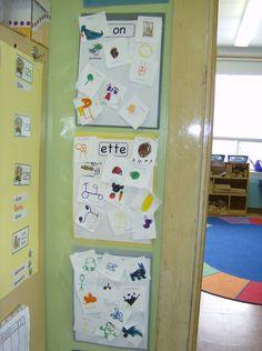 Collection de rimes Dans la classe, j'ai accroché 10 cartons avec chacun un son différent (a, on, in, ou, an...). Pour chacun des sons, les enfants doivent trouver 10 mots qui riment. Cette cueillette de rimes se fait lors des jeux libres ou a différents moments de la journée et peut prendre plusieurs semaines avant d'être complétée. Quand un enfant trouve une rime, il prend un petit carton et dessine l'image. J'écris le mot et il colle son papier avec le bon son.