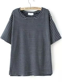 Navy Short Sleeve Vintage Striped T-Shirt
