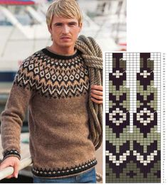 Fair Isle Knitting Patterns, Knitting Charts, Knitting Stitches, Baby Knitting, Knitting Needles, Handgestrickte Pullover, Icelandic Sweaters, Nordic Sweater, Hand Embroidery Videos