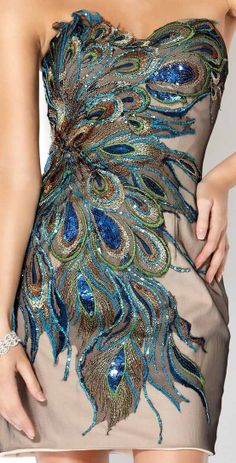 Peacock feather dress. The detailing is awesome.