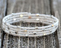 Dainty White Seed Bead and Silver Star Wrap Bracelet , Beaded Bracelet, Bangle
