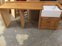 Stripped Pine Belfast Sink Unit With 2 Appliance Housing!