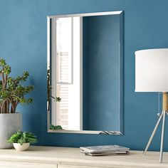 Zipcode Design Lithonia Modern and Contemporary Beveled Frameless Bathroom / Vanity Mirror Size: H x W Wall Mounted Bathroom Sinks, Single Bathroom Vanity, Bathroom Mirrors, Master Bathroom, Basement Bathroom, Small Bathroom, Modern Contemporary Bathrooms, Farmhouse Mirrors, Frameless Mirror