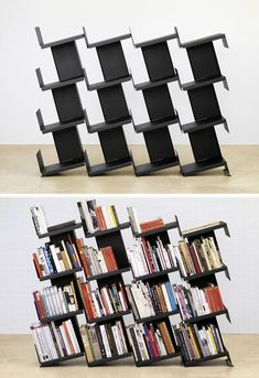 Bookshelf Room Dividers Modern Leaning ~ Forget about bookends – you don't need them with this modular bookcase and room divider system by Nitzan Cohen. The leaning shelves ensure that books stay put, and modules can be added as your collection grows.