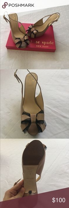 Kate Spade Nude Slingback Sandal with Bow Detail Kate Spade Nude Slingback with Bow, bought at Nordstrom for $400. Worn once. Perfect condition, can't even tell from bottoms that they were ever worn! Just trying to clear space in my closet! Box included! kate spade Shoes Sandals