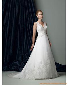 2013 neues Brautkleid aus Organsin sexy tiefer V-Ausschnitt und A-Linie Rock mit Kapelleschleppe