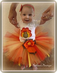 "Turkey Tutu Set. Perfect for your ""Little Turkey"". Thanksgiving. Baby or Toddler. Customized"