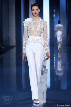 Ralph and Russo fall winter 2014 2015 couture look 4 white pant embellished long sleeve top. Love this! Great honeymoon outfit.