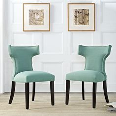 Curve Fabric Dining Chair in Laguna