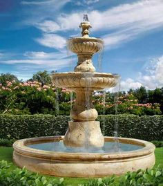 Medium large three tower water fountain with a rooster on top. Has to be a gray color