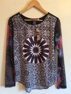 DESIGUAL BLUS_YEES Blouse Size EU S / US XS Sheer Long Sleeve Black White Winter #Desigual #Blouse #Casual