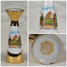 Circa 1956 to 1965 Gerold Porzellan Fine Porcelain Ludwigsburg Schloss Palace 22K Gold Plated Bud Vase Signed Made in Bavaria - O by DianesBargainShack on Etsy