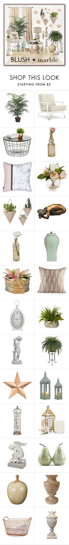 """""""Blush & Marble"""" by shadow-dancer-artist ❤ liked on Polyvore featuring interior, interiors, interior design, home, home decor, interior decorating, Rene, Currey & Company, Cultural Intrigue and Thos. Baker"""