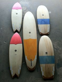 Nice quiver of colorful wooden #surfboards