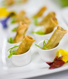 D'Amico Catering :: Mini Vietnamese Duck Egg Roll with Dipping Sauce    photo by Noah Wolf Photography  #damico