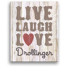 Personalized Live, Laugh, Love 11 inch x 14 inch Beige Canvas