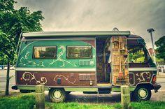Old camper van parked up in Chester