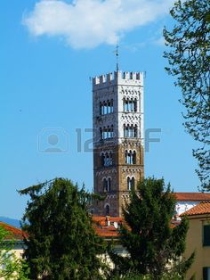 Bell tower of the cathedral of S  Martino, Lucca, Italy