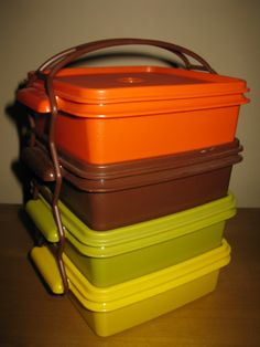 vintage Tupperware stackable fall harvest picnic by oakiesclaptrap, $12.99