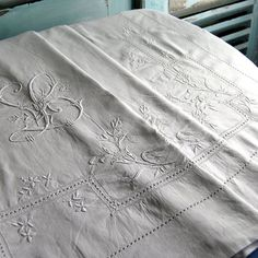 Magnificent Antique French Pure Linen Sheet by chatelainechic