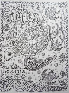 Färbung Buch Meeresschildkröten Coloring Book Sie von ChubbyMermaid
