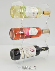 Contemporary Wine Rack, Acrylic 3 Bottle Wine Rack Clear Acrylic / Per – Display Supermarket