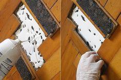 Feita a limpeza da sujeira acumulada no contrapiso e na base do taco, complete o vão com a cola branca e na sequência, recoloque os tacos na mesma posição original...