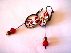"Pendientes ""rosas rojas"" y perlas. von Thislia creations auf DaWanda.com"