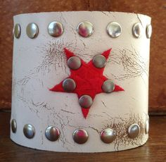 distressed WHITE LEATHER CUFF bracelet studded with star by whackytacky, $39.99
