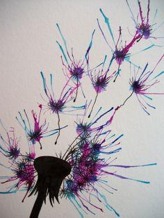 Original watercolor dandelion 3