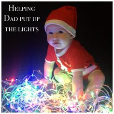 Helping Dad put up the lights