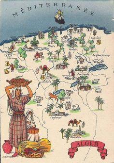 vintage map of Algeria