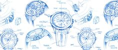 iW International Watch Magazine Orthographic Drawing, Watch Drawing, 3d Rendering, Watch Sketches, Nike Men, Watches For Men, Magazine, Drawings, Art