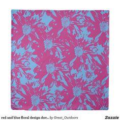 red and blue floral design duvet cover