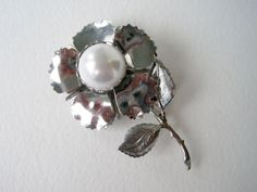 Vintage 60's Silver Tone Metal and Pearl Brooch by ThePaisleyUnicorn, $5.00