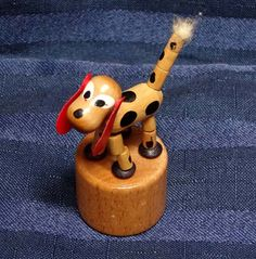 Vintage Toy DOG/ Push Puppet Miniature Hound/ from CurioCabinet