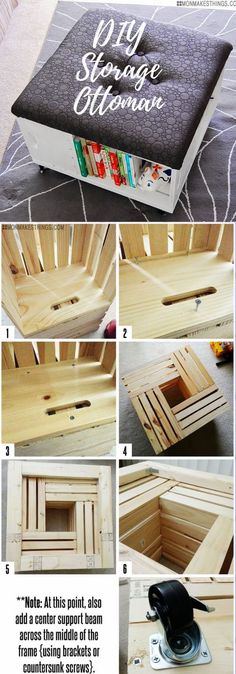 DIY Storage Ottoman | Best DIY Wood Crate Projects & Ideas