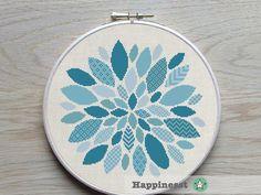 cross stitch pattern modern flower, blues, ornament, PDF pattern ** instant download**